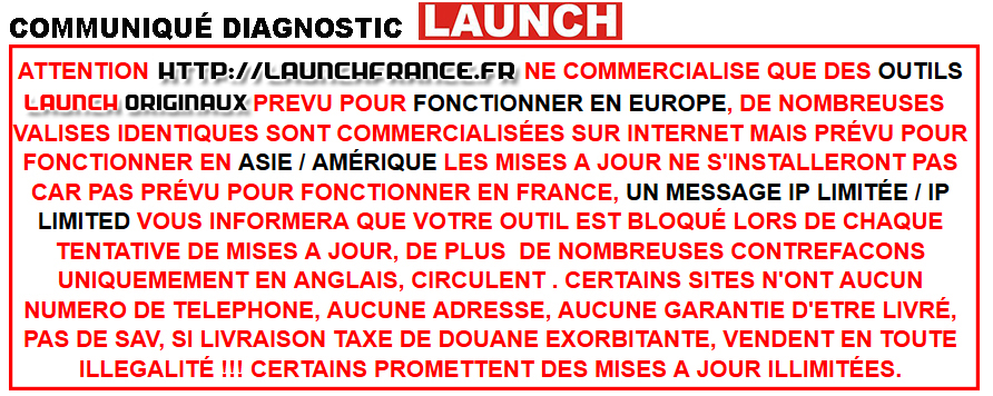 Valise-diagnostique.fr distributeur outil LAUNCH officiel france Europe